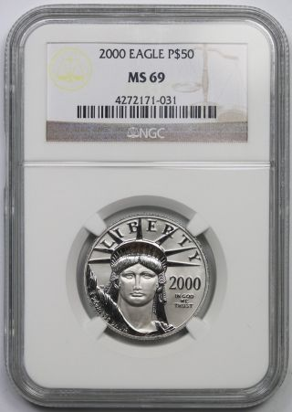 2000 Statue Of Liberty Half - Ounce Platinum American Eagle $50 Ms 69 Ngc 1/2 Oz photo