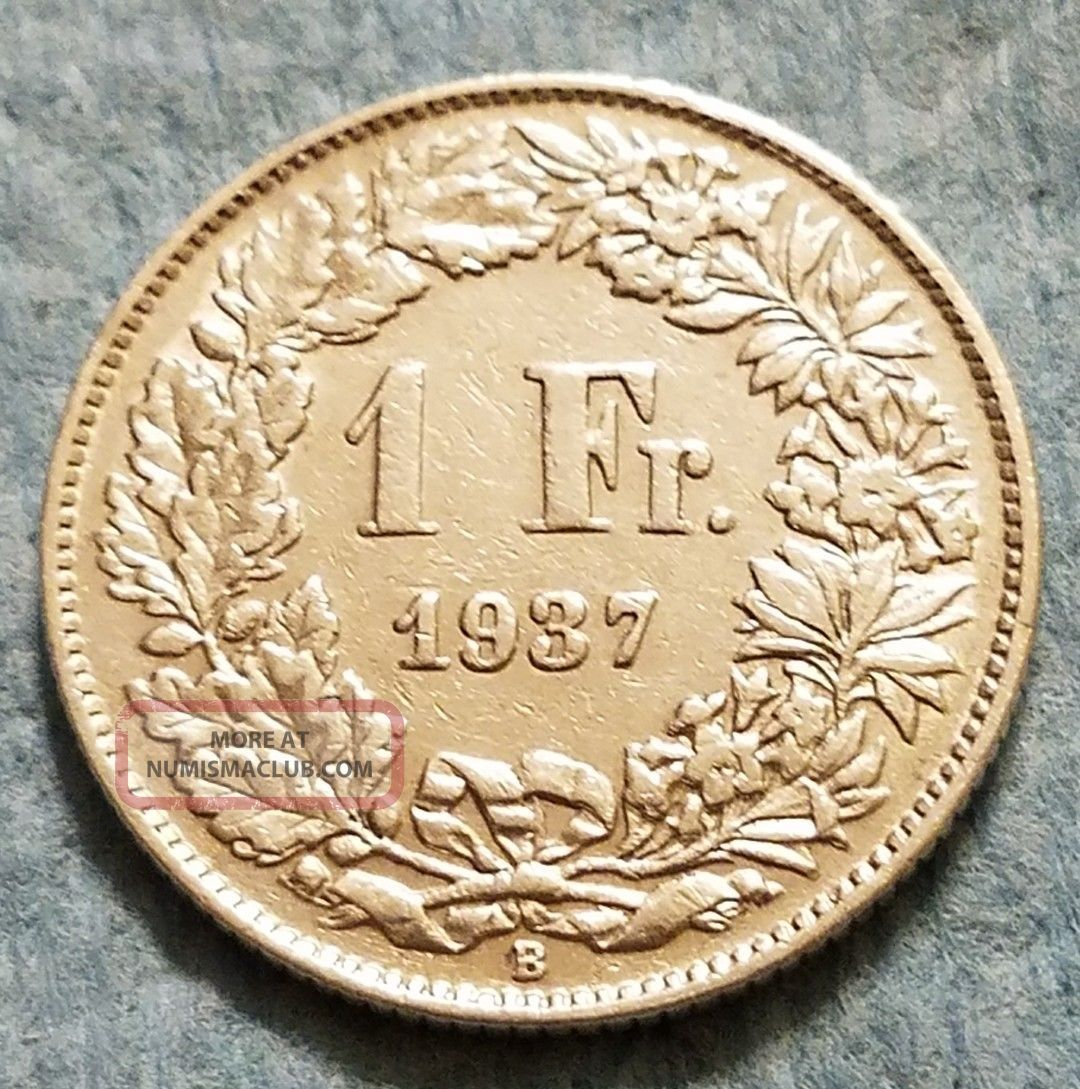 1937 Switzerland 1 Franc Silver Coin Europe photo