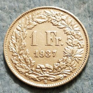 1937 Switzerland 1 Franc Silver Coin photo