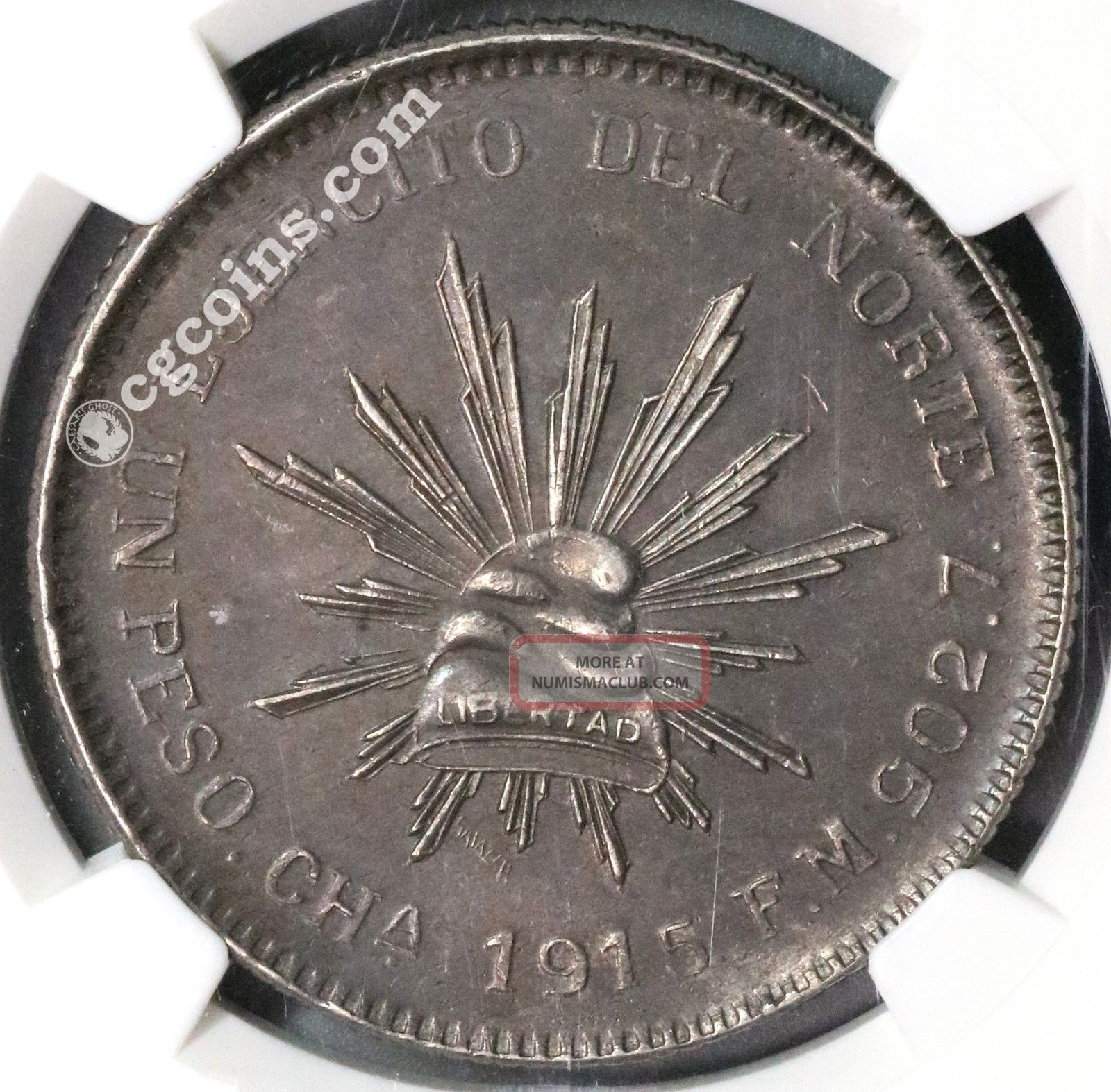 1915 Ngc Au 58 Silver Peso Chihuahua State Army Of North Coin (16120402d) Mexico photo