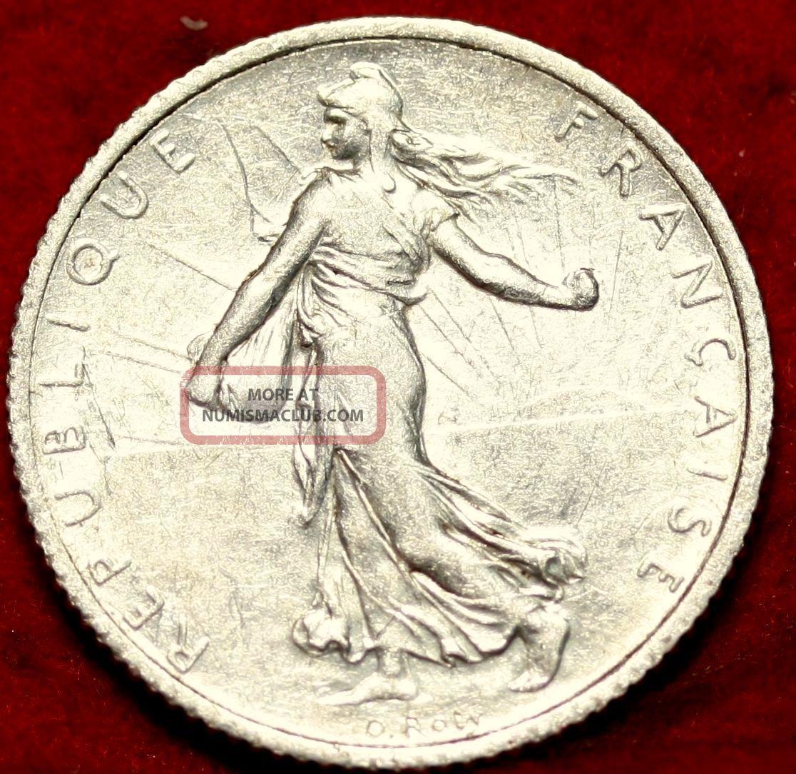 1919 France 1 Franc Rare Silver Coin France photo