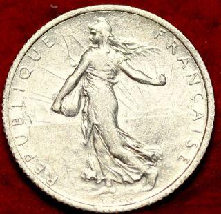 1919 France 1 Franc Rare Silver Coin photo