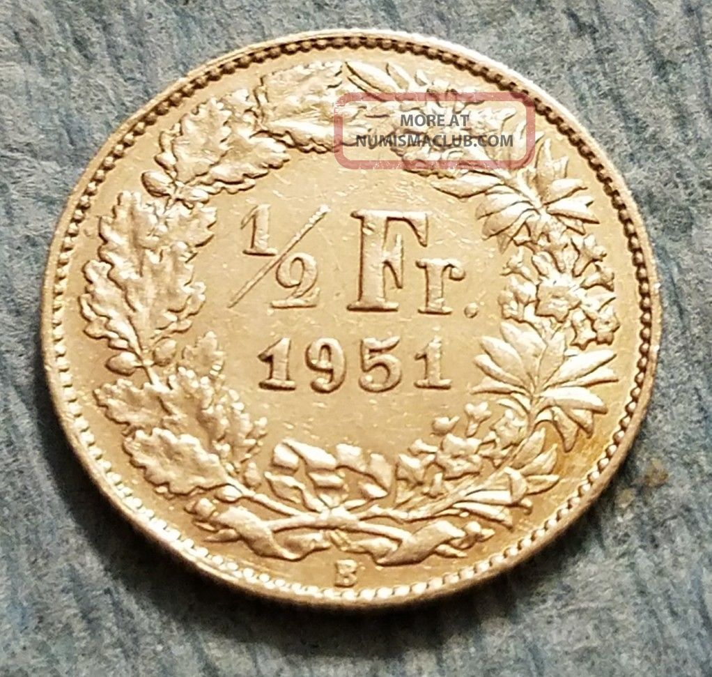 1951 Switzerland 1/2 Franc Silver Coin Switzerland photo