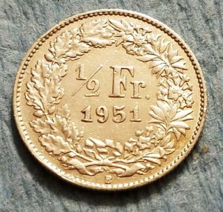 1951 Switzerland 1/2 Franc Silver Coin photo
