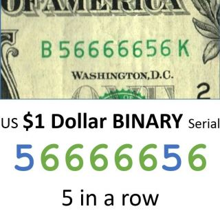 Us Dollar Binary 56666656 Fancy Currency Serial 2009 Cu $1 One Bill 5 In A Row photo