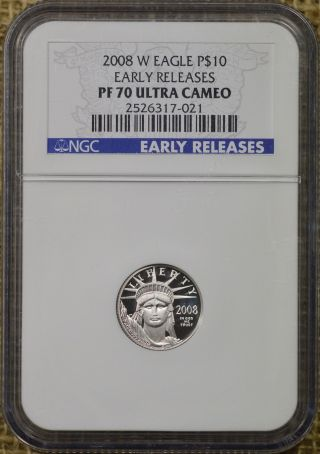 2008 - W P$10 Platinum Eagle Ngc Pr70 Ultra Cameo Early Releases 1/10 photo