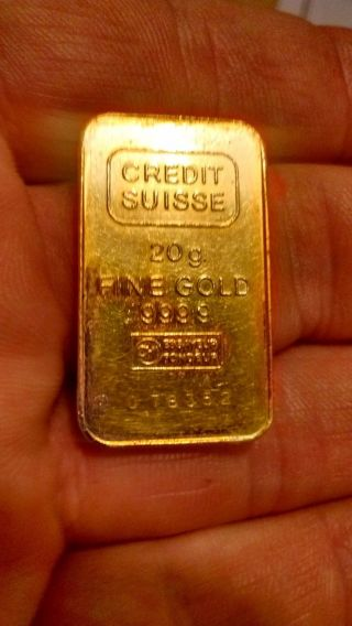 Credit Suisse 20g 999.  9 Fine Gold Ingot photo