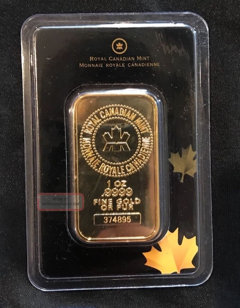 1 Oz Royal Canadian Rcm Gold Bar.  9999 Fine Bars & Rounds photo