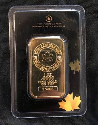 1 Oz Royal Canadian Rcm Gold Bar.  9999 Fine photo