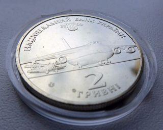 2006 Ukraine Coin 2 Hryvnias Uah Oleh Antonov Aircraft Designer Unc photo