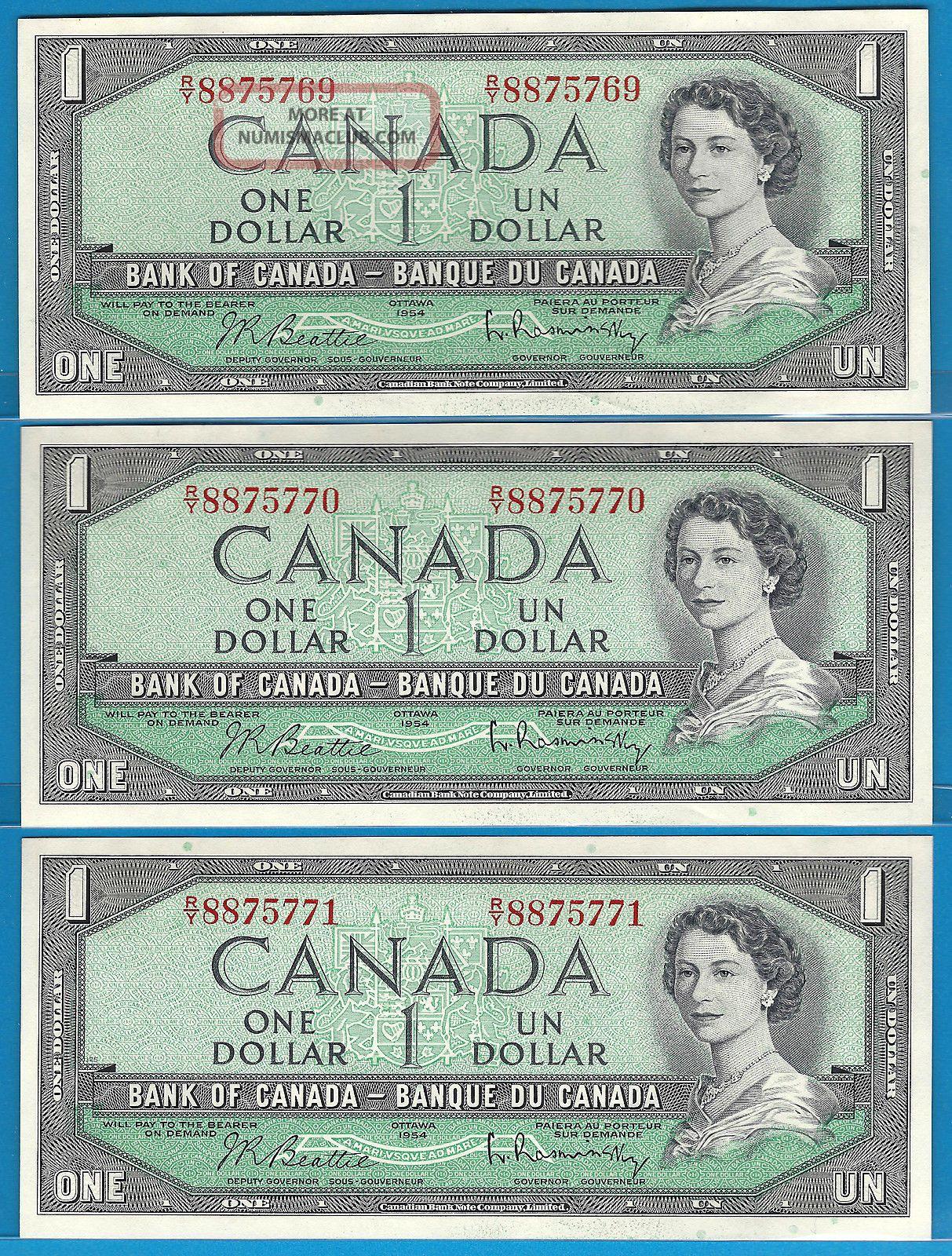 1954 3 Consecutive 1$ Beattie/rasminsky Prefix R/y8875771,  70,  69 Unc. Canada photo
