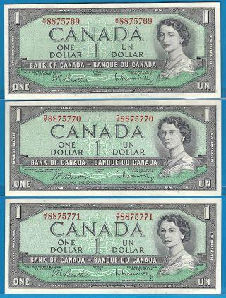 1954 3 Consecutive 1$ Beattie/rasminsky Prefix R/y8875771,  70,  69 Unc. photo