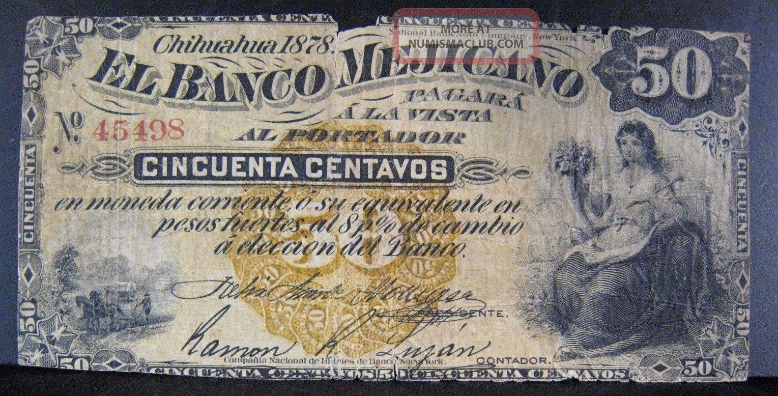 1878 Mexico,  Banco Mejicano,  50 Centavos,  Semi Rare U.  S North & Central America photo