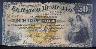 1878 Mexico,  Banco Mejicano,  50 Centavos,  Semi Rare U.  S photo