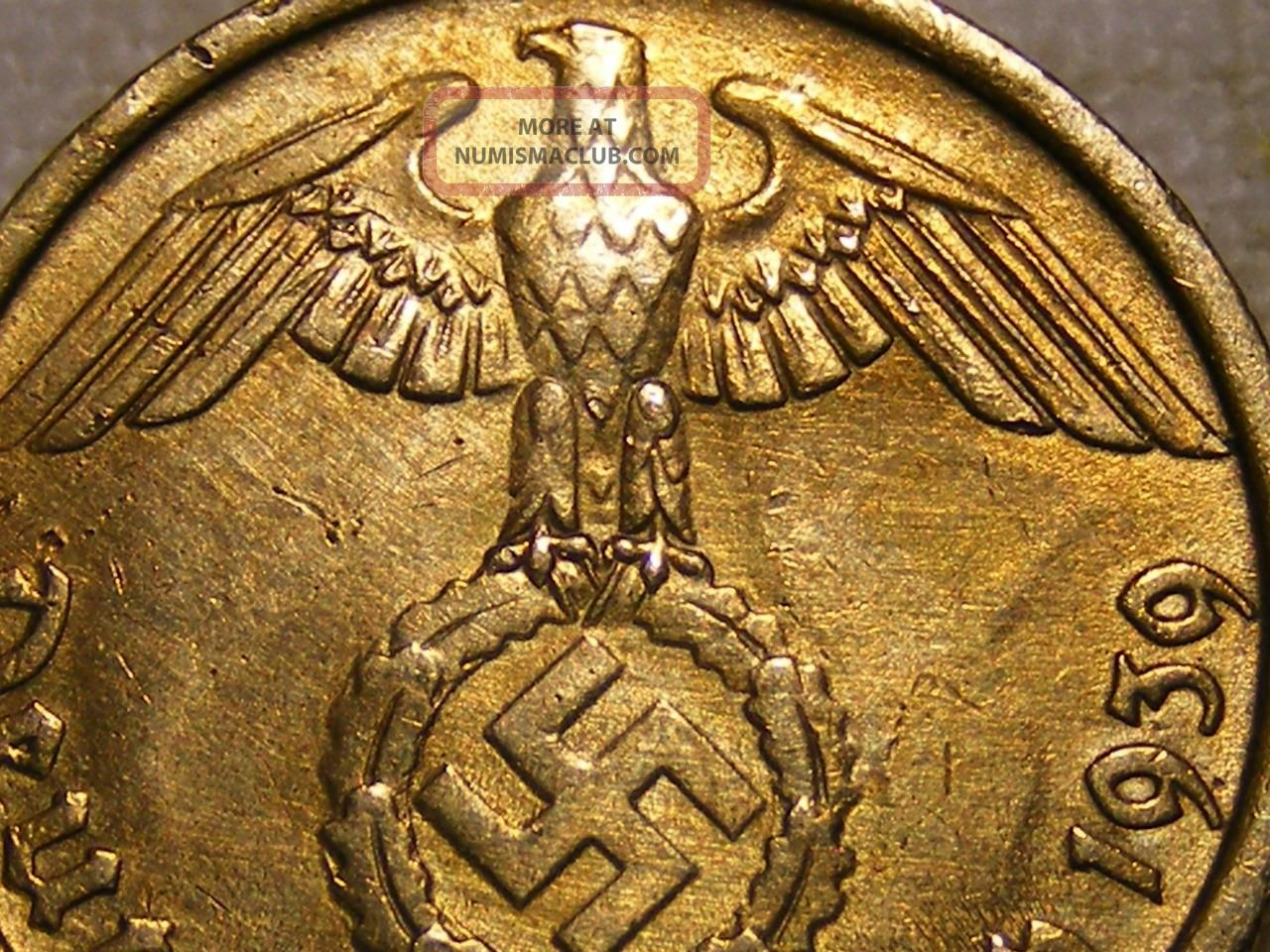 1939 Rare Old Wwii Nazi Hitler Germany 3rd Reich Brass Reichspfennig War Coin Germany photo
