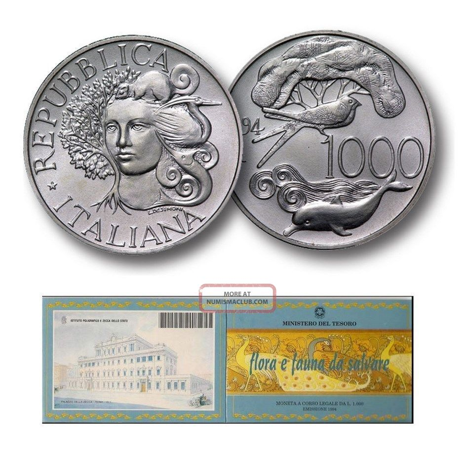 1994 - Italian Flora And Fauna - Silver Big Size 1000 Lire Unc Coin Folder Wwf Italy, San Marino, Vatican photo
