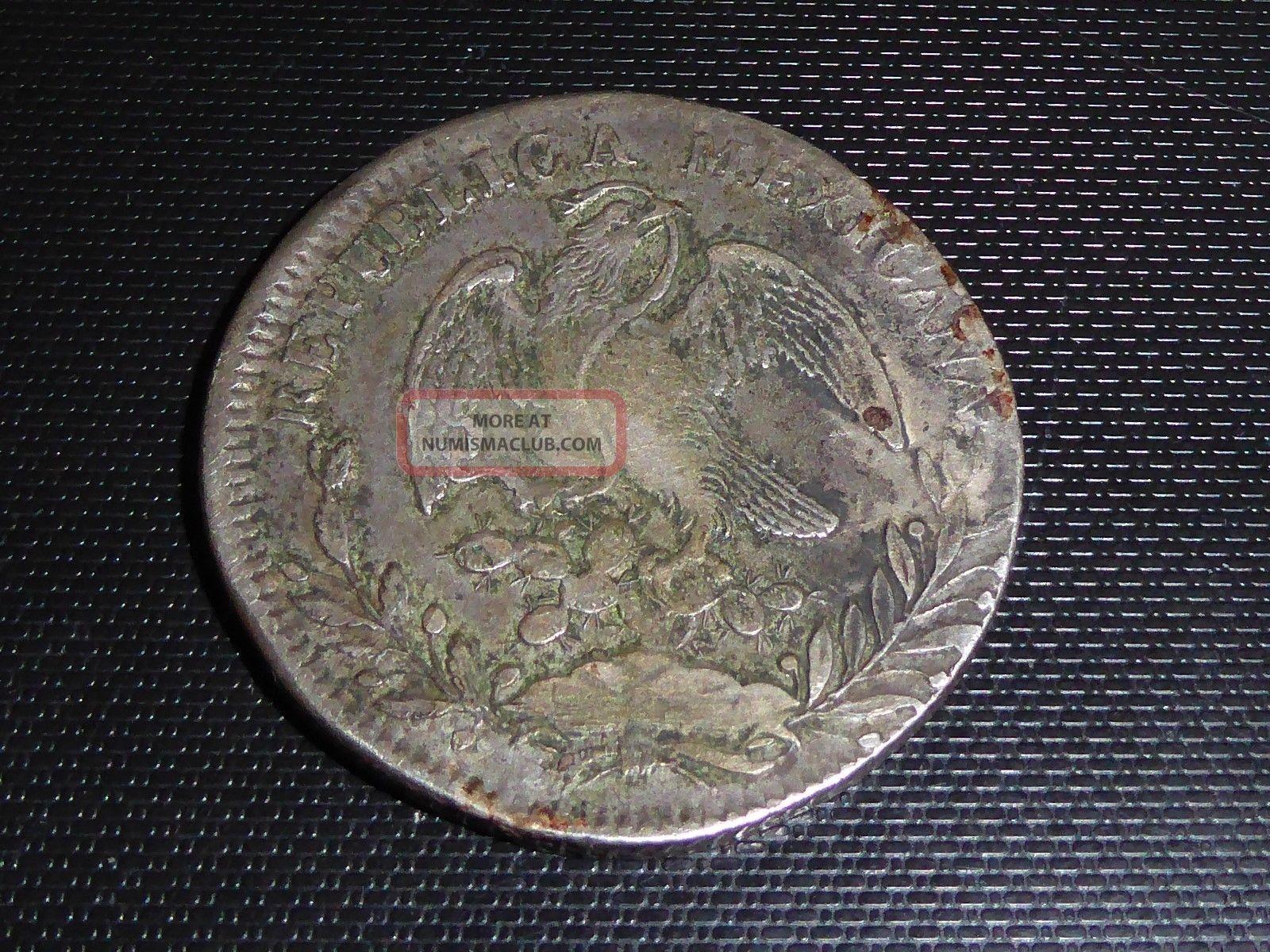Rare 1834 Zsom Silver Mexican Peso Mexico photo