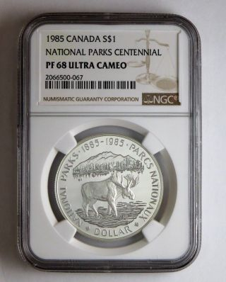 1985 Canada S$1 Silver Dollar National Parks Centennial Ngc Pf 68 Ultra Cameo photo