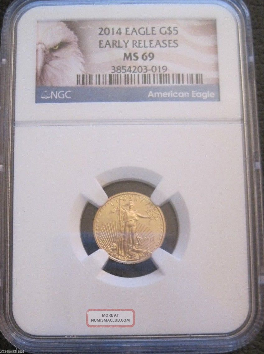 2014 1/10 Oz.  $5 Gold American Eagle Ms69 // Early Releases Blue Label // Mc006 Coins photo