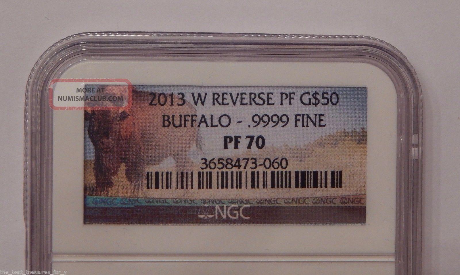 2013 W Ngc Pf70 Pr70 Gold Reverse Proof $50 American Buffalo.  9999 Fine 1 Oz Gold photo