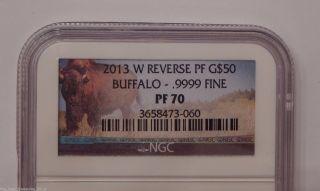 2013 W Ngc Pf70 Pr70 Gold Reverse Proof $50 American Buffalo.  9999 Fine 1 Oz photo