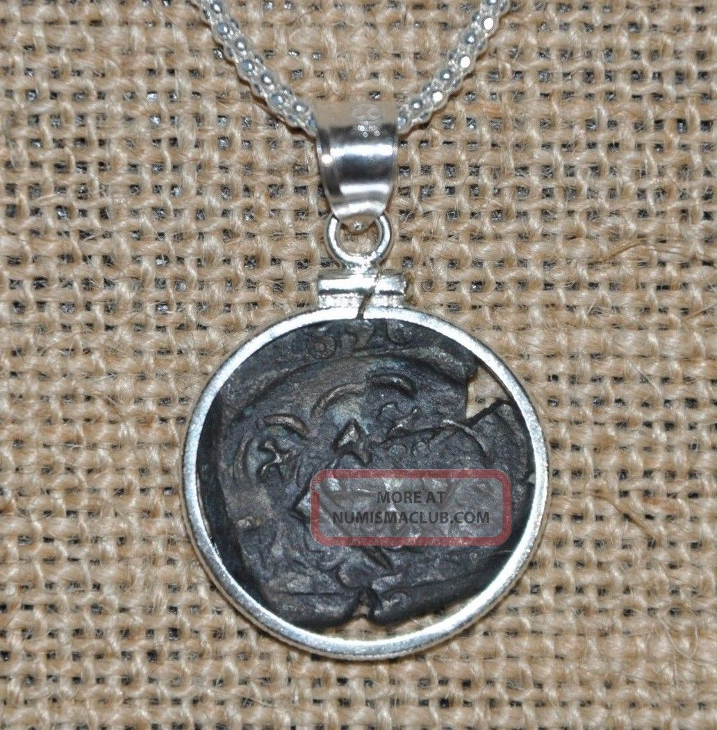 Authentic 1626 Pirate Copper Cob Maravedis Coin 925 Sterling Silver Necklace Coins: Medieval photo