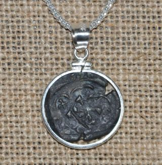 Authentic 1626 Pirate Copper Cob Maravedis Coin 925 Sterling Silver Necklace photo