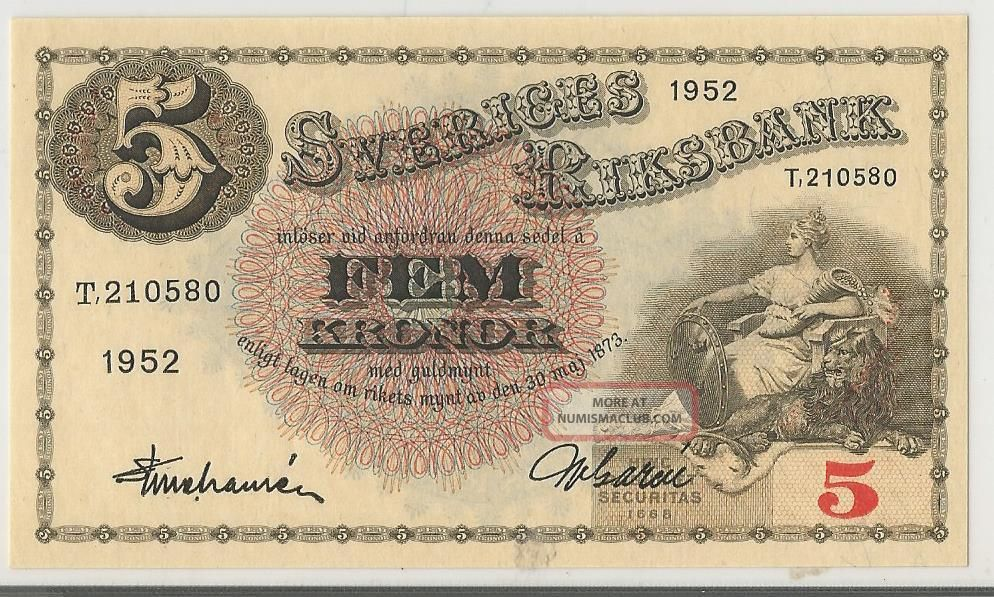 Sweden - Sveriges - 5 Kroner - 1952 - Unc - Pick: 33ai Europe photo
