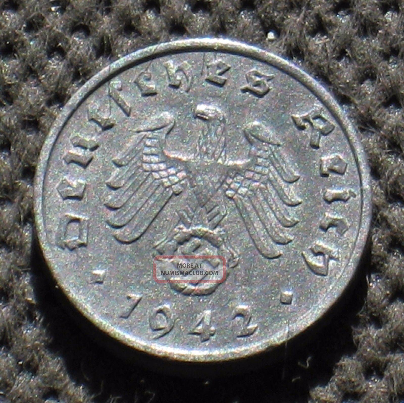 Rare Coin Nazi Germany 1 Reichspfennig 1942 A Berlin Swastika World War Ii Germany photo