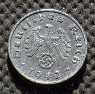 Rare Coin Nazi Germany 1 Reichspfennig 1942 A Berlin Swastika World War Ii photo