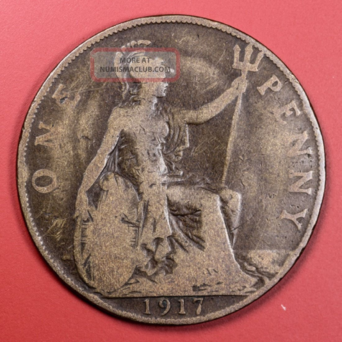 1917 Great Britain One Penny Foreign Coin - S&h UK (Great Britain) photo