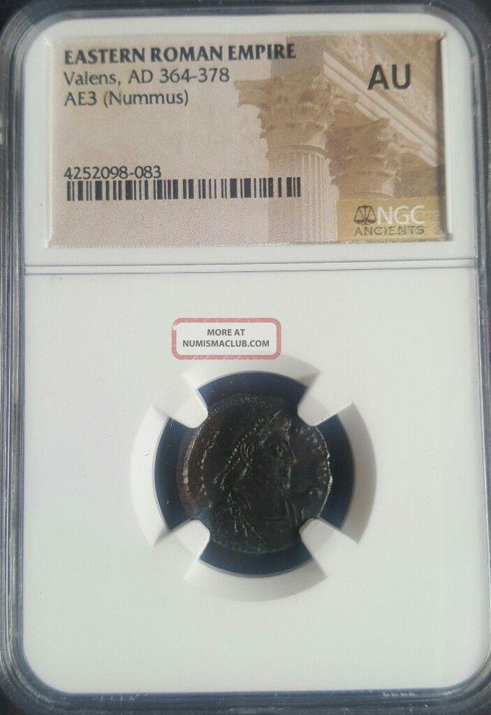 Roman Empire Valens (ad 364 - 378) Ngc Certified (au) Ancient Roman Nummus Coins: Ancient photo
