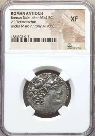 Syria Antioch Mark Antony,  As Triumvir 43 - 31 Bc Ar Tetradrachm Ngc Xf photo