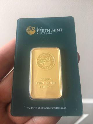 Perth 1 Oz 24 Karat Gold Bar.  9999 Fine In Assay photo