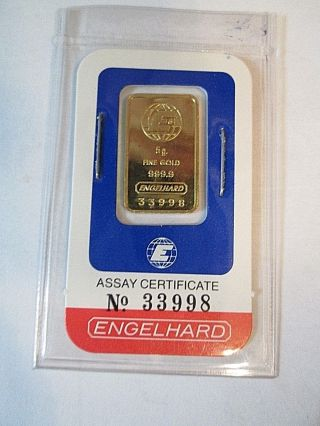 5 Gram Engelhard Gold Bar In Seal And Assay Card photo