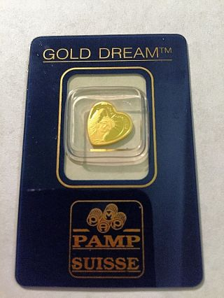 1 Gram Pamp Suisse Liberty Heart 999.  9 Gold Dream Bar/ingot,  Assay Certificate photo