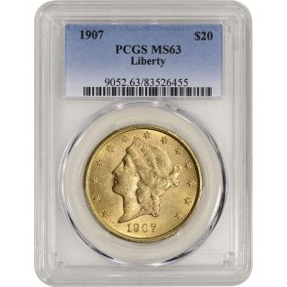 1907 Us Gold $20 Liberty Head Double Eagle - Pcgs Ms63 photo