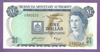 [an] Qeii Bermuda $1 1976 Prefix A/2 P28a Unc photo