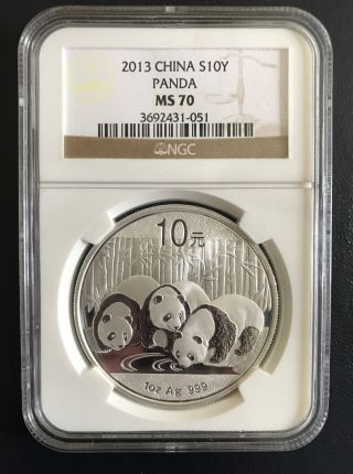 2013 China Panda - S10y 1 Oz.  999 Fine Silver Ngc Ms70 Brilliant Uncirculated photo