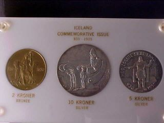 Iceland 2 - 5 - 10 Kronur 1930 In Capital Plastic Holder,  Scarce photo