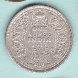 British India - 1917 - King George V Emperor - One Rupee - Rare Silver Coin photo