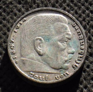 Rare Silver 2 Reichsmark Coin Nazi Germany Swastika 1937 G Karlsruhe Third Reich photo