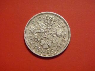 Great Britain 6 Pence,  1955 photo