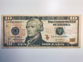 Star 2004 - A $10 Dollar Bill Low Serial Ga 01500008 Federal Reserve Note photo