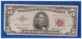 1963 $5 Dollar Bill Old Us Note Legal Tender Paper Money Currency Red Seal N463 photo