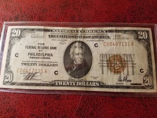 1929 Philadelphia $20 National Banknote Note, photo