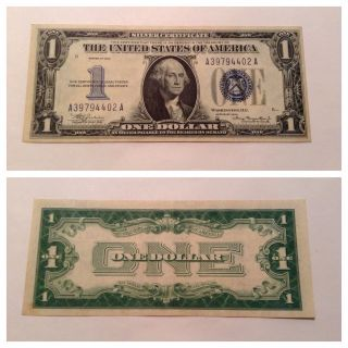 Vintage 1934 $1 Silver Certificate One Dollar Bill Washington Blue Funnyback Vnc photo