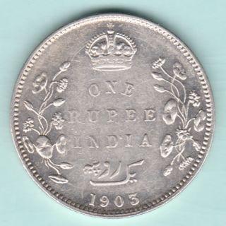 British India - 1903 - King Edward Vii - One Rupee - Rare Variety Silver Coin photo