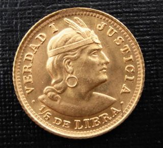 Peru 1914 Gold 1/5 Libra (pound) Unc photo