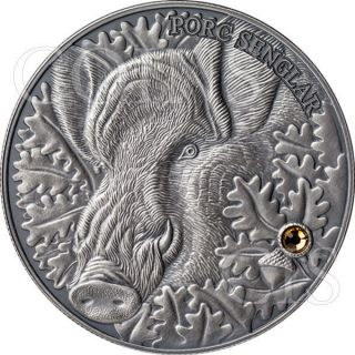 Andorra 2014 10 Diners Wild Boar Atlas Of Wildlife Antique Finish Silver Coin photo